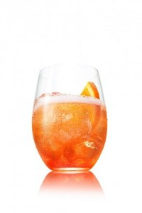 A classic Aperol Spritz. For a bittersweet finish, replace Aperol with Campari.