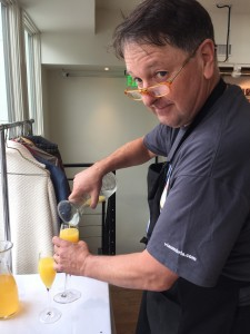 Bill is a generous pour when it comes to Bellinis (and mimosas!).