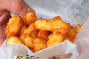 These golden cheese curds are little fried bits of heaven.