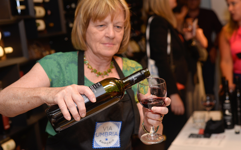 Tasting wine at Via Umbria
